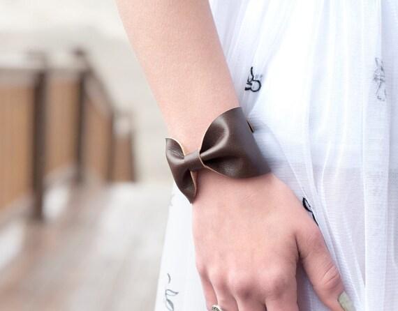 Bow Tie Bracelet Bow Cuff Bracelet Brown Faux