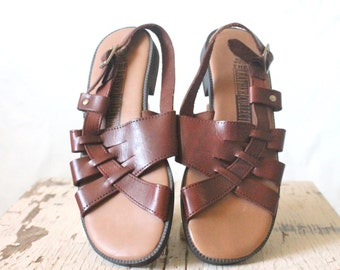 Vintage Chocolate Leather Sandals Sz 6W