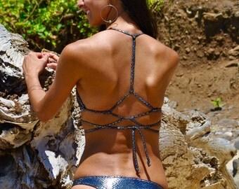 Reversible Cheeky Bikini Bottoms Silver Metallic Snake Skin Reverse to Black Cute, Sexy, and Functional