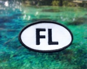 """Florida FL Patch - Iron or Sew On - 2"""" x 3.5"""" - Embroidered Oval Appliqué - The Sunshine State - Black White Hat Bag Accessory Handmade USA"""