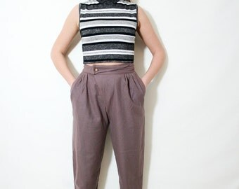 Vintage Dusty Pink Brown High Waist Tapered Pleated Preppy Pants