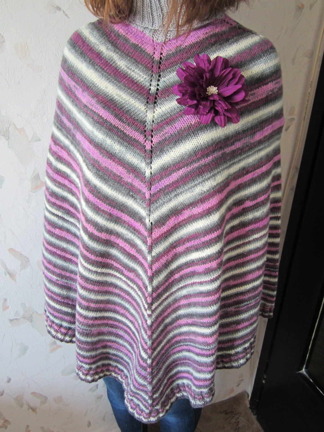 Knitting Pattern Striped Poncho : Womens knitted poncho striped wrap