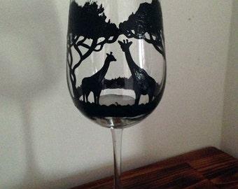 Hand painted giraffe wine glass