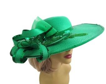 Green Derby Fascinator Hat Fancy Wide Brimmed Dress Hat Seqin Wide Brim Womens Hats Salsa Showgirl Costume Party Hat Kentucky Derby Hats
