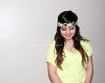 Eden - Black, White & Yellow Themed Fabric Flower Headband - Iowa Hawkeyes