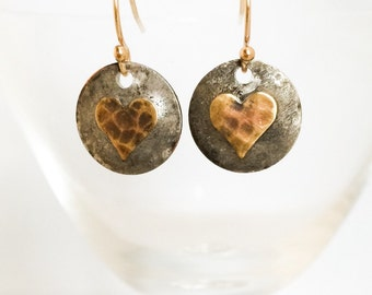 Mixed Metal Heart Earrings - Copper Brass Heart Earrings - Rustic Heart Earrings - Gold Heart Earrings - Rustic Metal Heart Earrings