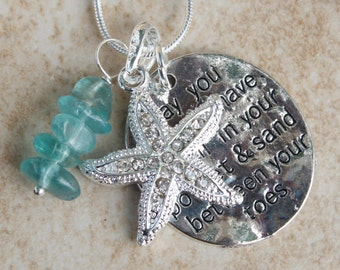 Beach Charm Necklace, Stunning Crystal Starfish Necklace, Ocean, Sea, Swarovski Crystals, Apatite, Inarajewels, Beach Jewelry Gifts