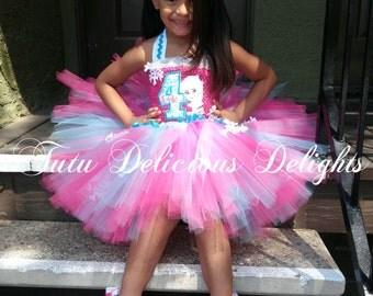 Elsa Birthday Pink White and Turquoise tutu dress, Frozen Birthday Party, Frozen Birthday Tutu, Elsa Birthday Outfit