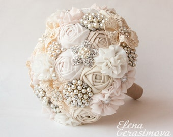 SALE!!! Brooch Bouquet, Ivory Fabric Bouquet, Unique Wedding Bridal Bouquet