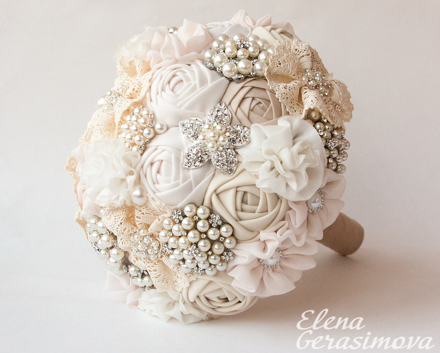 Bridal Bouquet Brooches : Brooch bouquet ivory fabric unique wedding bridal
