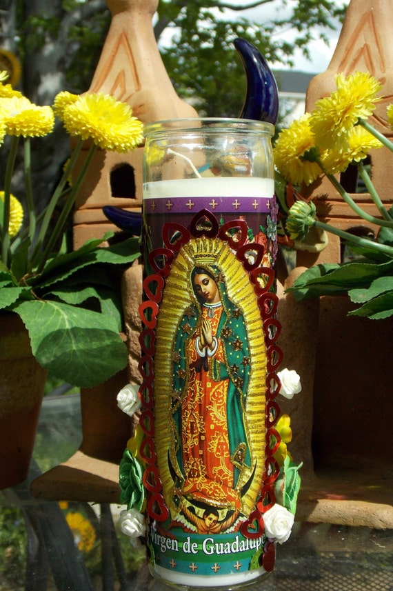Virgen de Guadalupe Our Lady of Guadalupe Votive by GapToothBodega