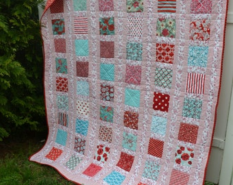Handmade Twin Quilt French Country Retro Cottage Chic Quilt Aqua Red Turquoise Pink Toile Glamping Blanket Fifties Style Quilt