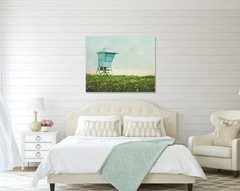 Seaside Canvas Wrap, California Beach House Decor, Blue Green Artwork, Santa Barbara Canvas Art, Lifeguard Stand Photography, Ocean Wall Art
