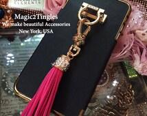 Brazalete Stylish Pearl Gold Tassel Chain Diamond Ring Wristlet Wrist Lanyard Design Hook Stand Jewelry Cover Charm Case For iPhone 6s Plus
