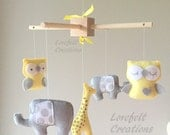 Baby Crib Mobile - Baby Mobile elephant - giraffe mobile - Owl Mobile - Neutral Mobile - You can Customize your colors :)