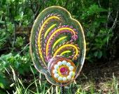 Outdoor Décor, Hand crafted Recycled art, Yard Art Garden, outdoor Glass Sun Catcher, Garden Art