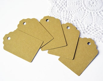 Set of gift tags in natural eco-friendly cardboard for packaging or scrapbooking - choose the quantity