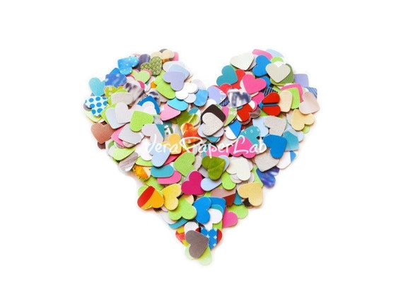 Mix of colorful little hearts punches - confetti