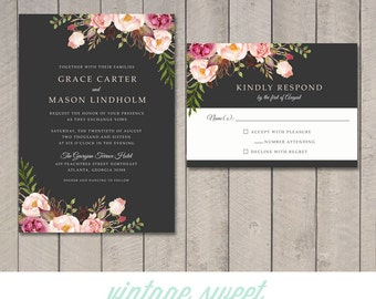 Floral Wedding Invitation & RSVP Card (Printable) by Vintage Sweet
