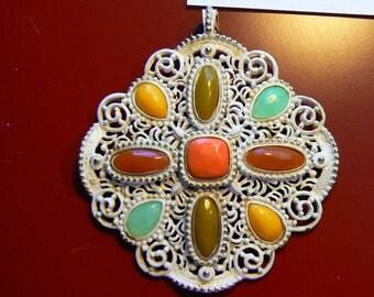 Vintage Huge Pendant (No Chain) - White Enamel Lattice Gold Tone Detail with Plastic Stones in Interesting Colors (J-15-469)
