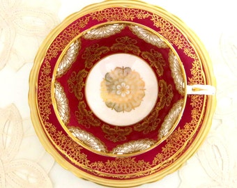 Raspberry Red & Gold Tea Trio ~ An Elegant Mismatched Marriage of English Vintage Paragon and Aynsley