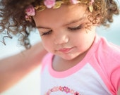 M2M WDW Pink Duchess Pink and Gold Floral Crown - Floral Halo Floral Boho Headband Newborn Photo Prop Shabby Chic