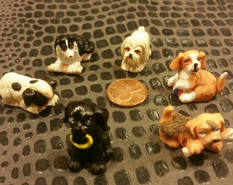 6 Tiny Puppies / Miniature dogs / Floral Craft Supplies / Doll house supplies / Fairie Gardens / Pups / Pets / altered art / Mixed Media