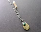 RESERVED LISTING. Brass, Sterling and Hessonite Necklace