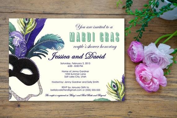 Masquerade Wedding Invitations: Masquerade Mardi Gras Bridal Shower Invitation Customized
