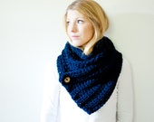 The OXFORD - ribbed chunky crochet scarf button cowl scarf - navy