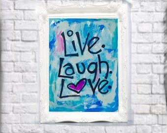 Turquoise Love Painting for Teen, Frameable Art for Girls Room, Painted Sign for Tween Bedroom 16x20