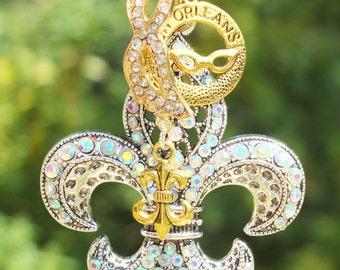 NOLA LOVE Tree Jewelry Christmas Ornament Fleur de Lis New Orleans