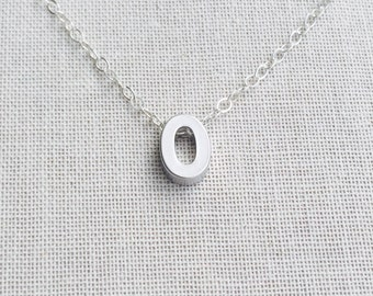 Small Letter O Necklace, Sterling Silver Necklace, Uppercase Letter O Charm,  Initial O Necklace, Birthday Gift,Gift for Her,Custom Necklace
