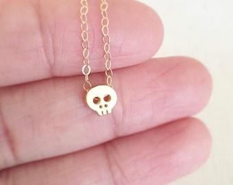 Mini Skull Necklace, Tiny Skull Necklace, Gold Skull Necklace, Silver Skull Necklace, Birthday Gift, Gold Necklace