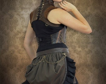 Brown Pinstripe Bustle Ruffle Skirt, Leather Trim with Tulle Lining and Chain Detail by Loose Lemur Clothing
