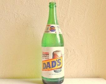 Large Vintage Green Glass Soda Pop Bottle Dad's Root Beer with Original Labels