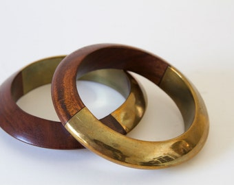 2 Wood Bangles with Bronze Accents
