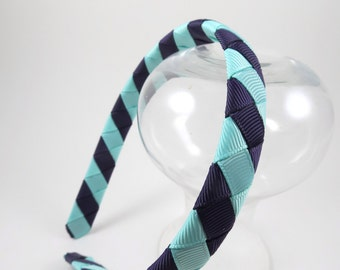 Aqua and Plum Sriped Headband - Aqua Headband - Plum Headband - Purple Headband - Hard Headband - Ribbon Woven Headband - Headband