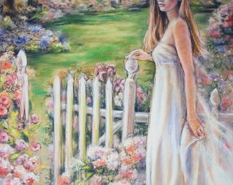 """woman romantic, """"GENTLE SOUTHERN DAYS"""" by Laurie Shanholtzer, Museum quality giclee art print, 17 x 21  portrait, lady in white"""