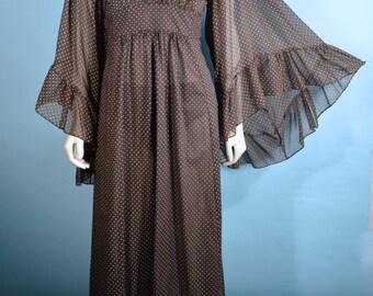 Vintage 60s 70s Boho Angel Bell Sleeve Goddess Festival Concert Fair Maxi Dress/ Brown Polka Dot Empire Waist Wedding Party Dress  M