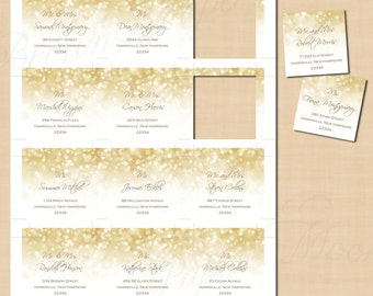 White Gold Sparkles Square Labels: Text-Editable in Microsoft® Word, Printable on Avery 22816 Templates, Instant Download