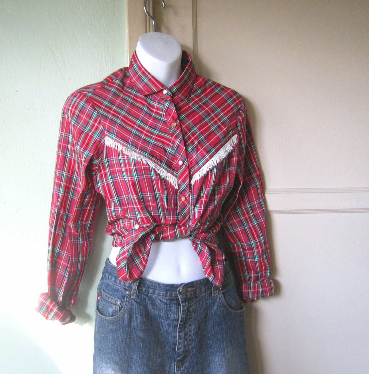 1960s Vintage Western Shirt Red Plaid With Fringe Cowgirl