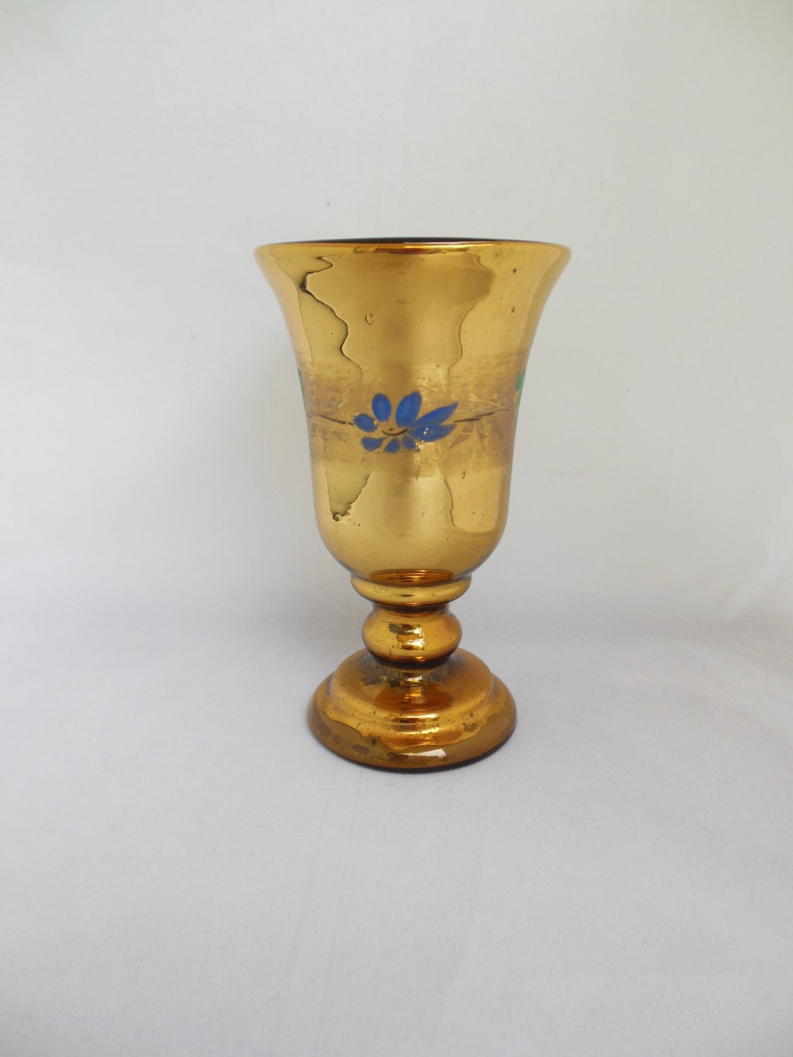 Antique Gold Mercury Glass Vase Or Goblet With Blue Flowers