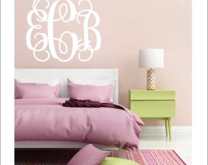 Monogram Wall Decal Girls Monogram Decal Nursery Monogram Teen Bedroom Decal Dorm Room Monogram Preppy Southern Wall Decal Personallized