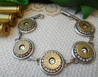 Bullet Jewelry ~  500 Magnum Winchester ~ Rhinestone Crystal Bracelet ~ April Diamond Birthstone