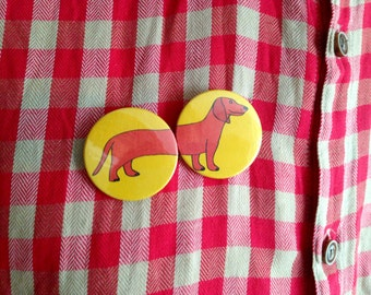 Sausage Dog Badges, Wiener Dog Button Badges, dachshund dog buttons, cute sausage dog pin button badges, funny badge pack, party bag fillers