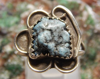 Native American Sterling Turquoise Nugget Ring
