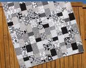 Black & White Lap Quilt Mystique Gray Blanket