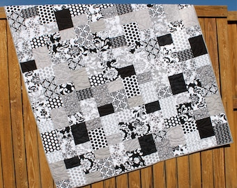 Black & White Lap Quilt Mystique Gray Blanket