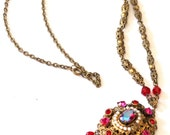 West Germany Red Rhinestone Crystal Pendant Necklace